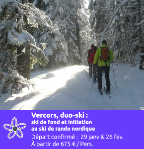 Vercors, duo ski : ski de fond classique et initiation au ski de rando nordique